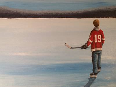 Pond Hockey Painting - On Frozen Pond -  Stevie by Ron  Genest