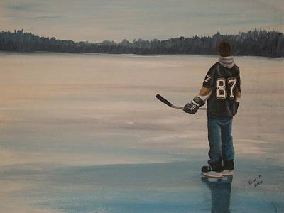 Minor Hockey Painting - On Frozen Pond - The Kid by Ron  Genest