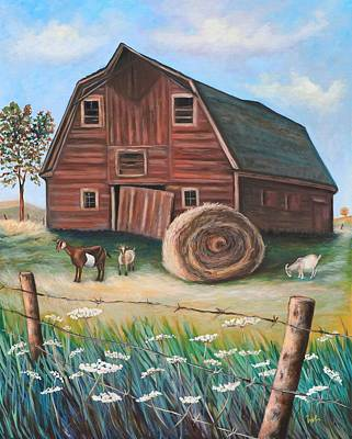 Hay Bales Painting - On Golden Farm by Eve  Wheeler