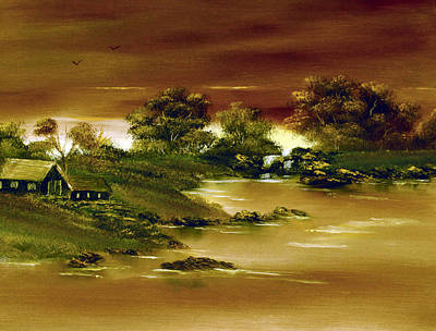 Cynthia-adams-uk Painting - On Golden Pond. by Cynthia Adams
