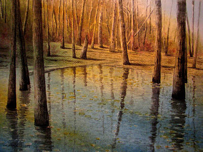 Wall Art - Painting - On Golden Pond by Linda McCallum