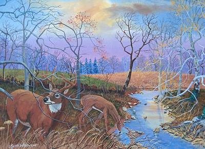 Buck And Doe Painting - On Guard At Evening by Seth Wade