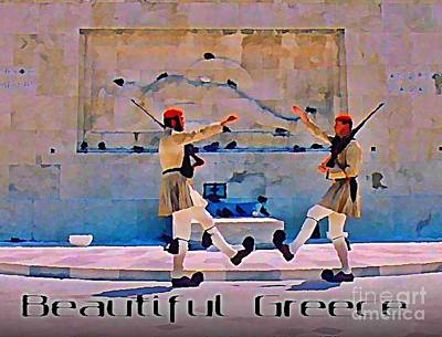 On Guard At The Athens Capitol Art Print by John Malone