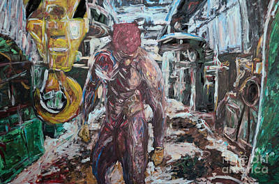 Male Painting - on hook - am Haken - 7012 by Lars  Deike