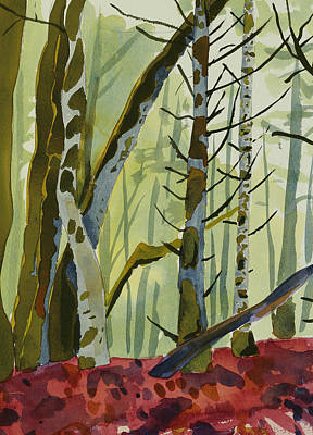 Winter Forest Painting - On Ivy Hill by Alexandra Schaefers