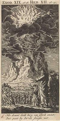 Thunder Drawing - On Mount Sinai, Jan Luyken by Jan Luyken