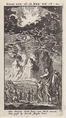 Thunder Drawing - On Mount Sinai, Print Maker Jan Luyken by Jan Luyken And Wed. Pieter Arentsz & Cornelis Van Der Sys Ii
