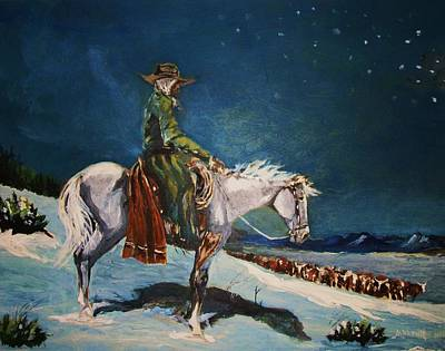 Art Print featuring the painting On Night Herd In Winter by Al Brown