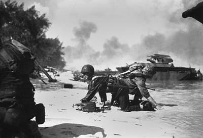 Mariana Photograph - On Saipan, Invading Marines by Everett