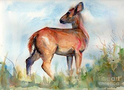 Deer On Beach Painting - On Second Thought by Maria's Watercolor