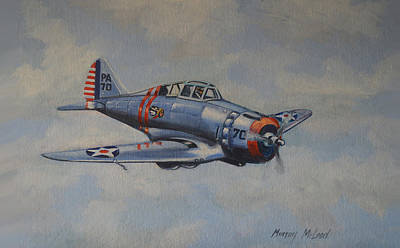 Us Army Fighters Painting - On Silver Wings by Murray McLeod
