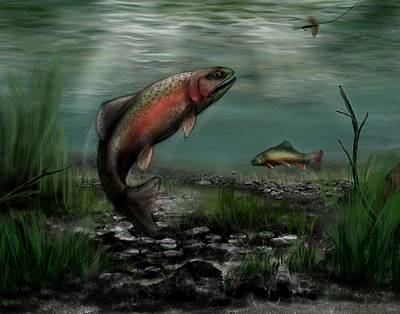 Painting - On The Attack - Rainbow Trout After A Fly by Ron Grafe