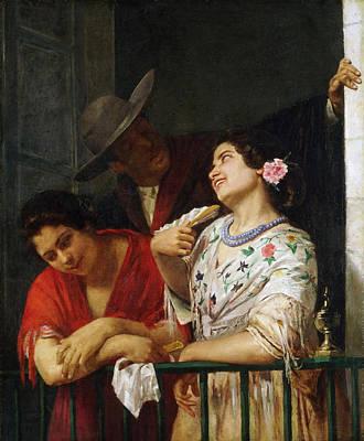 Mary Stevenson Cassatt Painting - On The Balcony by Mary Stevenson Cassatt