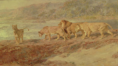 On The Bank Of An African River Art Print by Briton Riviere