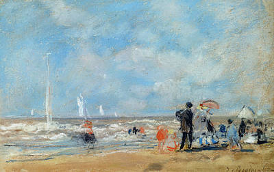 People On Beach Wall Art - Painting - On The Beach, 1863  by Eugene Louis Boudin