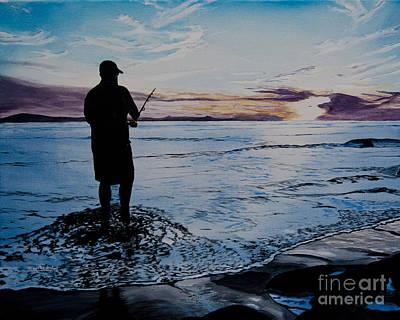 On The Beach Fishing At Sunset Art Print
