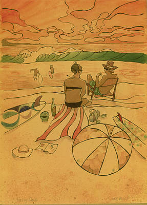 Painting - On The Beach by Harry Holiday
