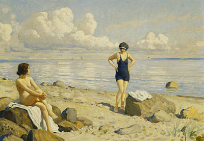 Tanning Painting - On The Beach by Paul Fischer