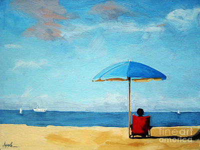 On The Beach - Special Time Art Print by Linda Apple