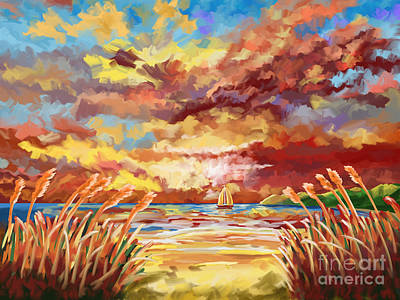 Beach Painting - On The Beach With Bout Seagrass by Tim Gilliland