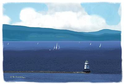 Digital Art - On The Broad Lake by R B Harper