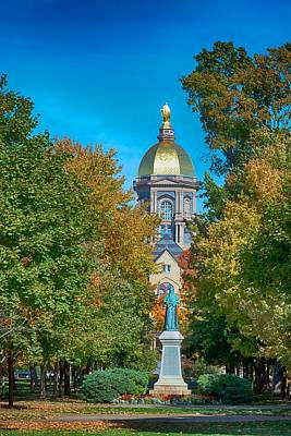 Outside Photograph - On The Campus Of The University Of Notre Dame by Mountain Dreams