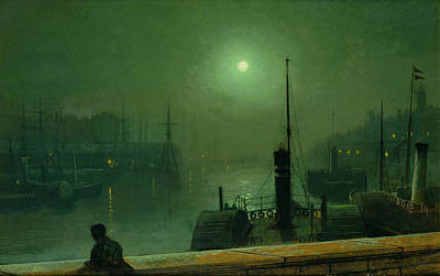 Steamboat Painting - On The Clyde, Glasgow, 1879 by John Atkinson Grimshaw