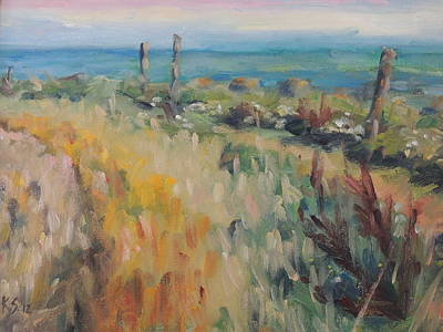 St Margaret Painting - On The Coastal Path by Karen Scannell