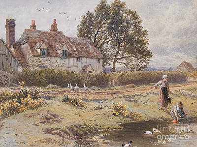 On The Common Hambledon Surrey Art Print by Myles Birket Foster