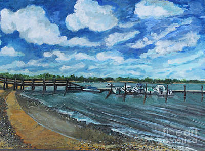 Art Print featuring the painting On The Dock In Great Harbors by Rita Brown