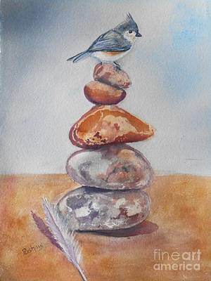 Titmouse Painting - On The Edge by Patricia Pushaw