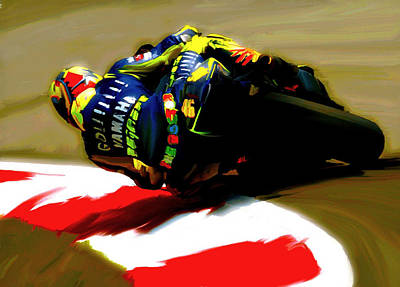 Painting - On The Edge Vi Valentino Rossi by Iconic Images Art Gallery David Pucciarelli