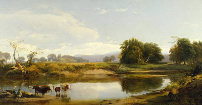 New York State Painting - On The Esopus  Meadow Groves by William Hart
