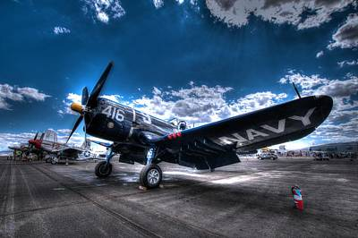 On The Flight Line.  F-4u Corsair At Reno Air Races Art Print