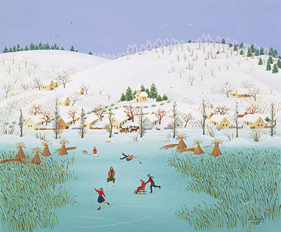 Winter Sports Painting - On The Frozen Lake by Magdolna Ban
