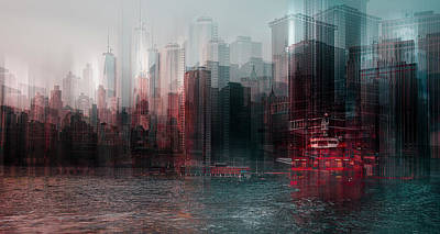 Abstract Skyline Wall Art - Photograph - On The Hudson River by Carmine Chiriac??