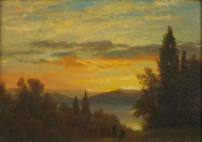 Amazing Sunset Painting - On The Hudson River Near Irvington by Albert Bierstadt