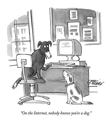 One Dog Drawing - On The Internet by Peter Steiner