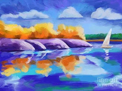 Expressionist Painting - On The Lake by Tim Gilliland