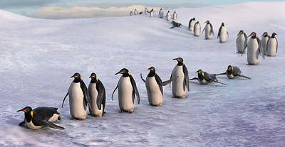 Penguin Painting - On The March by Gary Hanna