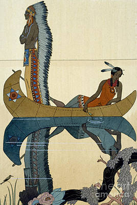 Indian Painting - On The Missouri by Georges Barbier