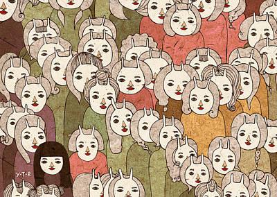 Crowds Digital Art - On The Platform by Yoyo Zhao