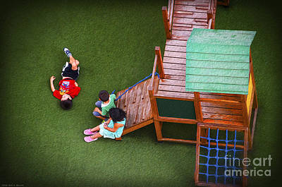 Playground Digital Art - On The Playground - Digital Oil by Mary Machare
