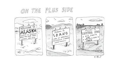 Iowa Drawing - On The Plus Side by Roz Chast