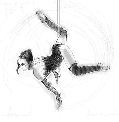 Digital Art Digital Art Drawing - On The Pole by H James Hoff