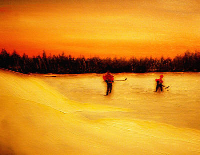 Pond Hockey Painting - On The Pond With Dad by Desmond Raymond