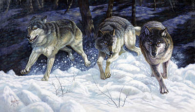 Wolf Mixed Media - On The Prowl by Gregory Perillo
