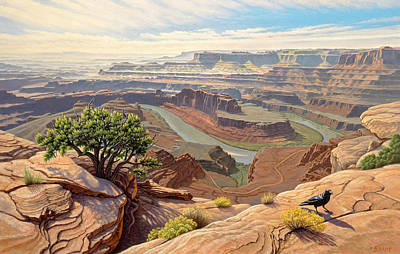 Canyons Painting - On The Rim-dead Horse Point by Paul Krapf
