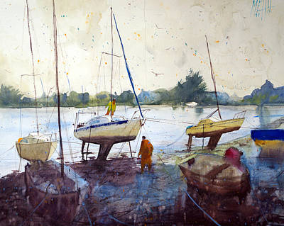 On The Riverbank Art Print by Andre MEHU