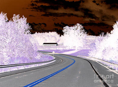 Negative Effect Digital Art - On The Road In Sodus New York Inverted Effect by Rose Santuci-Sofranko